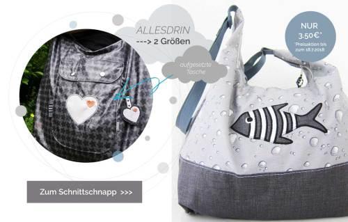 Allesdrin Tasche von farbenmix. Taschenschnittmuster in zwei Größen mit Nähanleitung und Fotobeschreibung.
