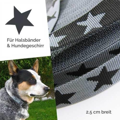 Ideal für Hundehalsband Gurtband mit Sternen Nylonband von farbenmix in 2,5 cm breit