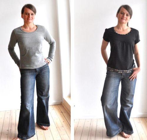 Schnittmuster Fanö mit raffinierter geschwungener Passe und vielen Variationen - für Damen - Basic Shirt - jetzt bei farbenmix