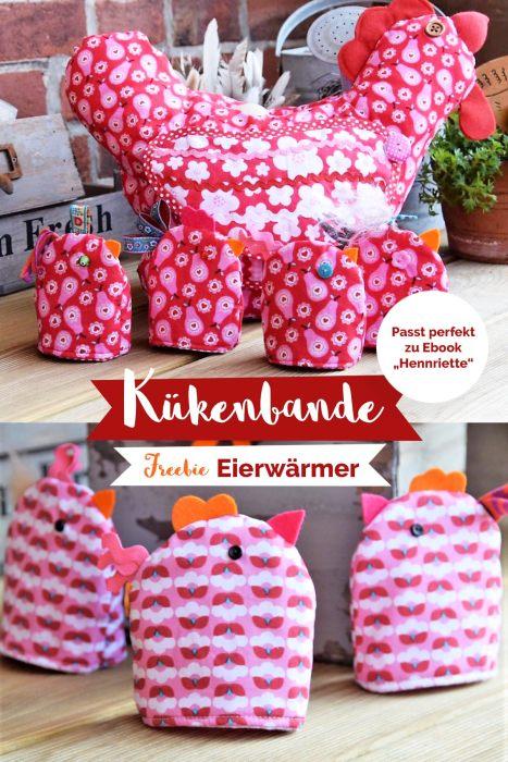 Osterfreebie Eierwärmer Kükenbande - Freebie von farbenmix - Eierwärmer nähen