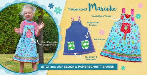 Kinder Trägerkleid nähen mit Schnittmuster und Anleitungen von farbenmix. Tolle Anfänger Nähprojekte