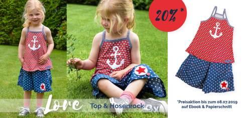 Sommerkombi für Kinder nähen - Top und Hosenrock  von farbenmix Schnittmuster Lore