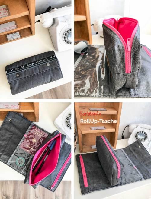 RollUp Tasche aus der Taschenspieler 4 Serie von farbenmix Taschen Ebook - Reiseutensilo nähen - Leporello