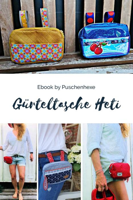 Ebook Taschen von Puschenhexe farbenmix Schnittmuster Gürteltasche