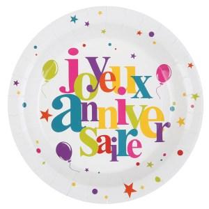 Assiette carton joyeux anniversaire multicolore
