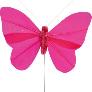 Papillon en plume fuchsia