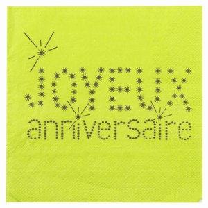 Serviette joyeux anniversaire vert