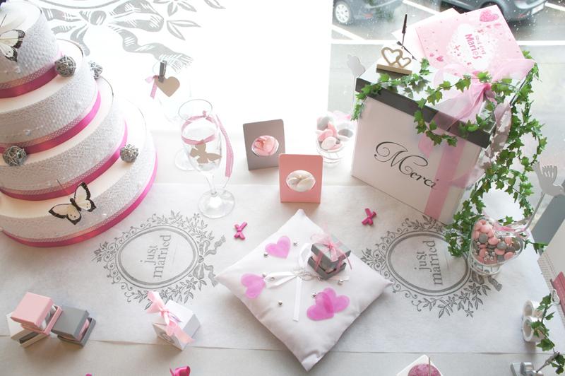 Mariage blanc - rose - gris