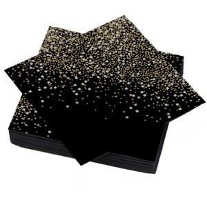 Serviette 40x40cm carré noir, argent et or