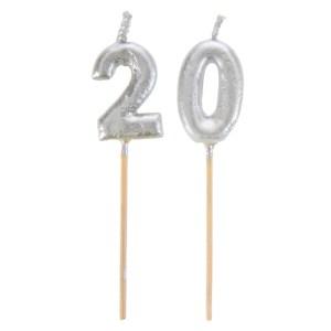 Bougie sur pique 20 ans - argent