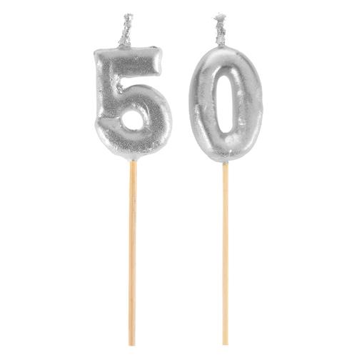 Bougie sur pique 50 ans - argent