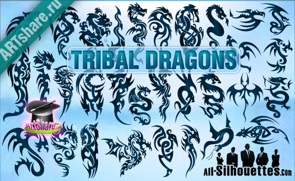 tribal-vector-dragons1