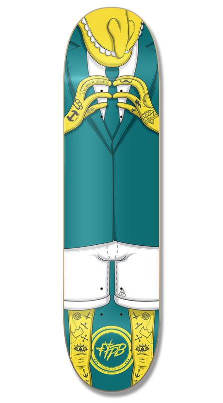 Barnes tattooed skateboard deck made by Digital Oatmeal for FYPB Skate Co.