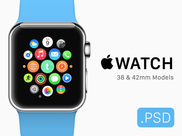 Apple Watch + Icon Mockup (Free .PSD) by Elliot