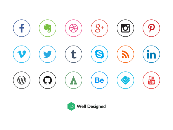 20 Social Media Icons by Dawid Dapszus