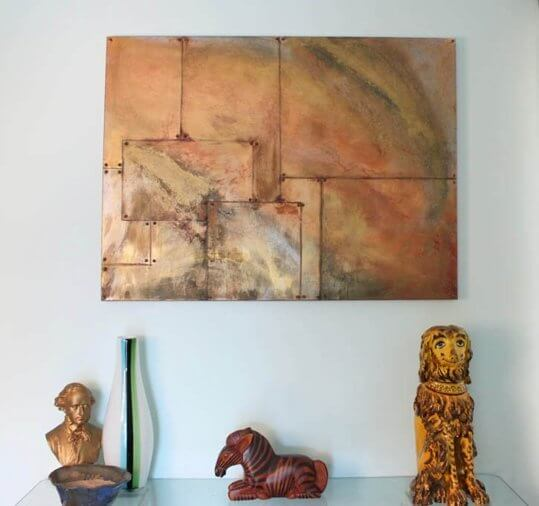 Oxidized copper painting from Gina Michele