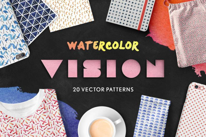 Watercolor Vision Vector Patterns (2)