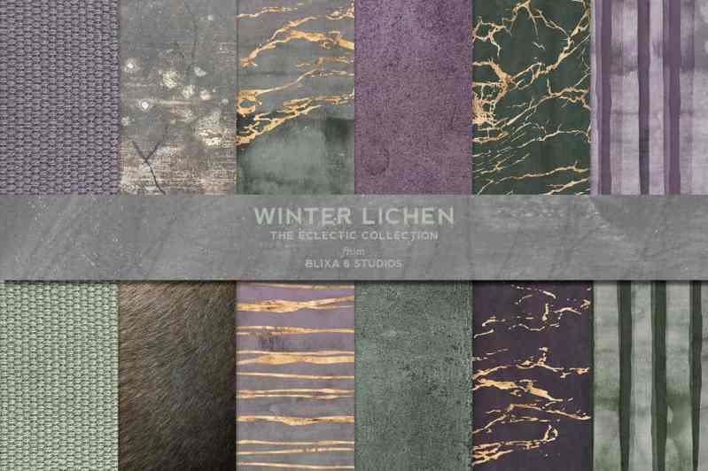 Winter Lichen Watercolor & Gold