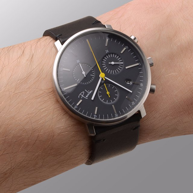 Black & Yellow Brushed Chronograph Watch by Paulin Watches