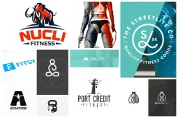 collage of fitness and training logo designs