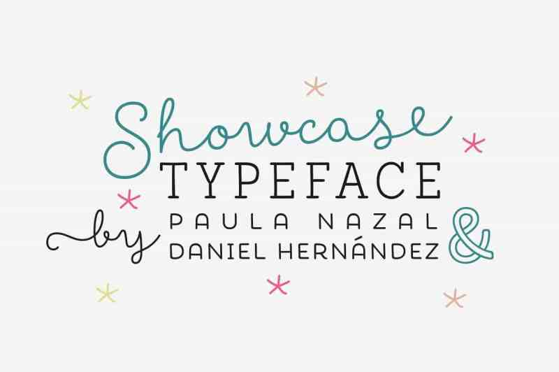 Showcase, the new typeface of Daniel Hernandez and Paula Nazal is a handmade font consisting of a set of types that are composed of four styles, one script, one sans, a slab, sans mini and finally a set of ornaments and dingbats, all made to work together in the same language.