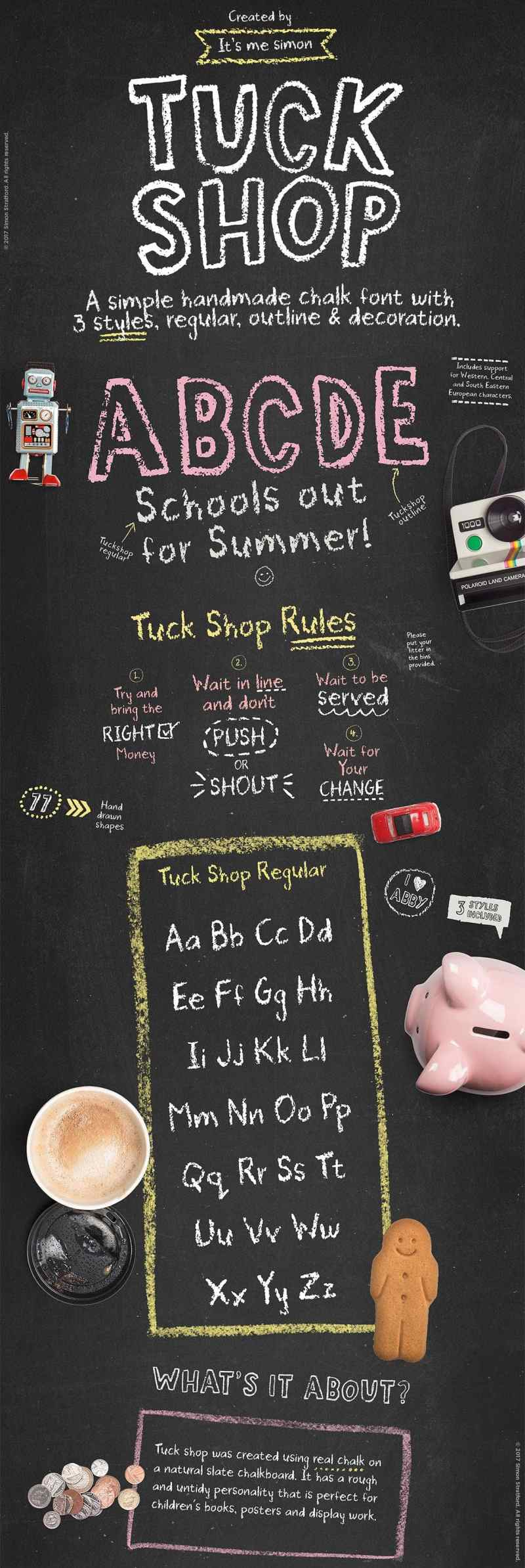 Tuck Shop font - Display Like Save Tuck Shop font - Display - 1 Tuck Shop font - Display - 2 Tuck Shop font - Display - 3 Tuck Shop font - Display - 4 Tuck Shop font - Display - 5 Tuck Shop font - Display - 6 Tuck Shop font - Display - 7 Tuck shop was handmade using real chalk and a natural slate chalkboard.