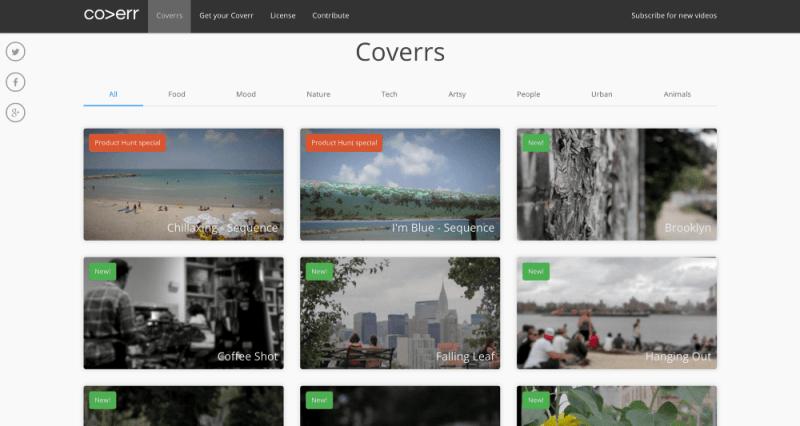 Coverr Website Screensho