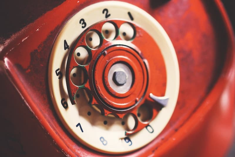 Red vintage dial phone