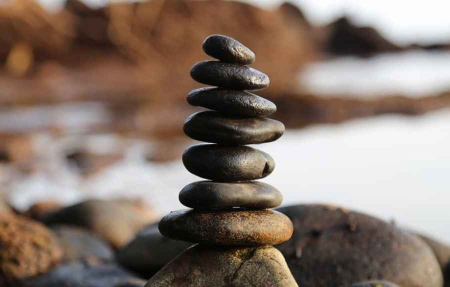 stacked pebble rocks at the beach