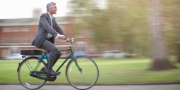 Business man on bike.