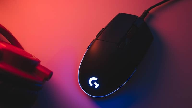 Computer Mouse in Purple and Orange Light