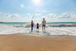 Family Enjoying a Beautiful Beach at Noon