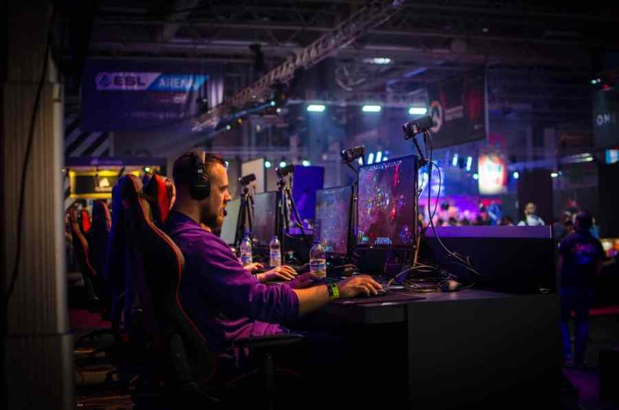 man competing in an esports tournament