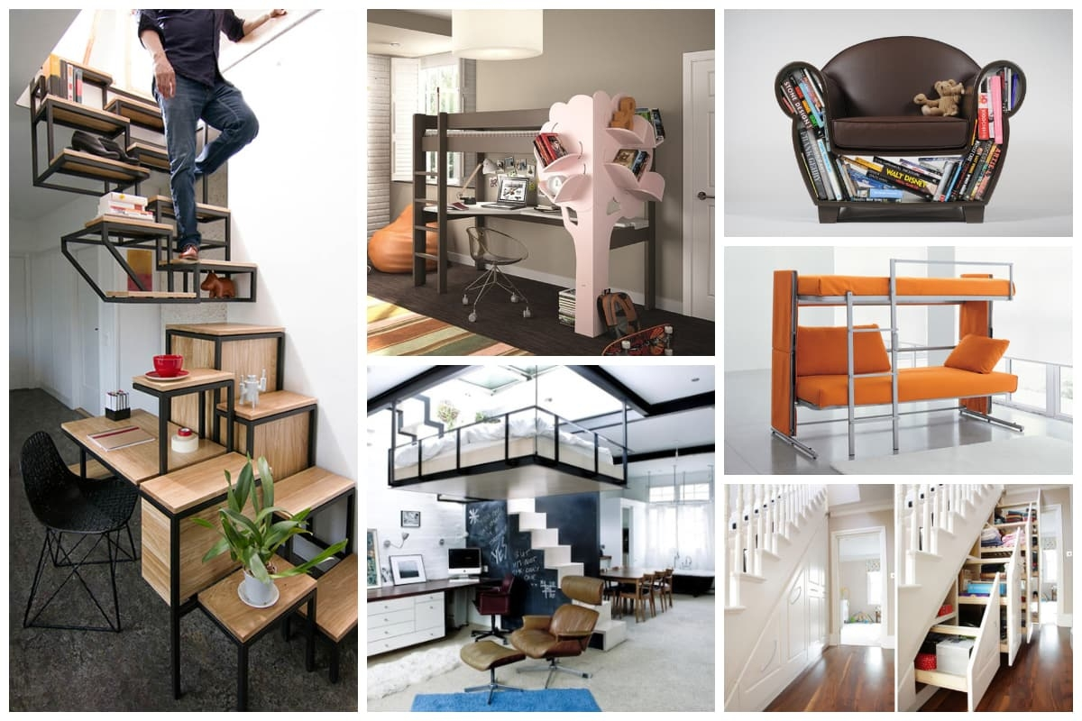 20 Cool Examples Of Space Saving Furniture Inspirationfeed | Space Saving Staircases For Small Homes | Design | Spiral Staircases | Staircase Design | Attic Ladder | Staircase Ideas