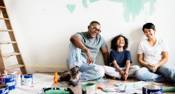 family painting house wall for interior design