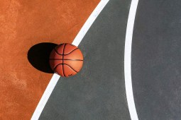 Basketball Laying on The Court