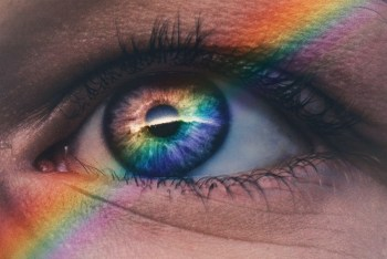 Rainbow Reflected Inside a Human Eye-min