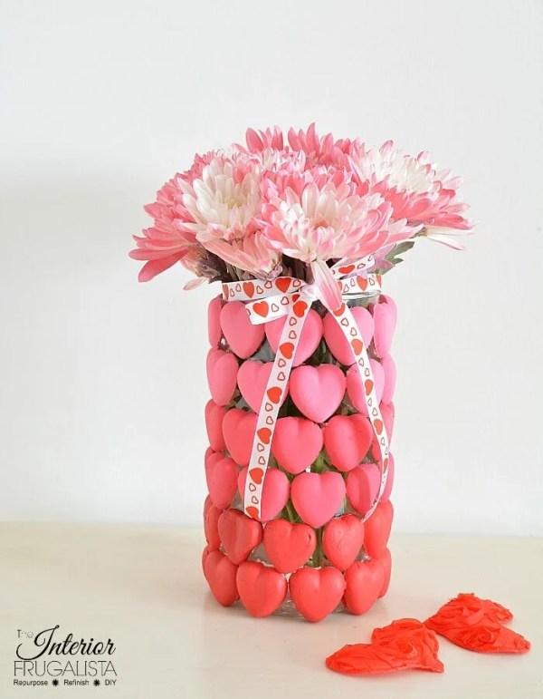 Ombre Valentine Heart Vase