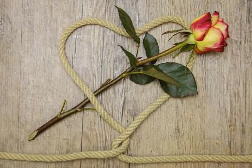 καρδιά από σκοινί και τριαντάφυλλο
