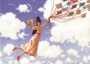 Flying with Book Baloon