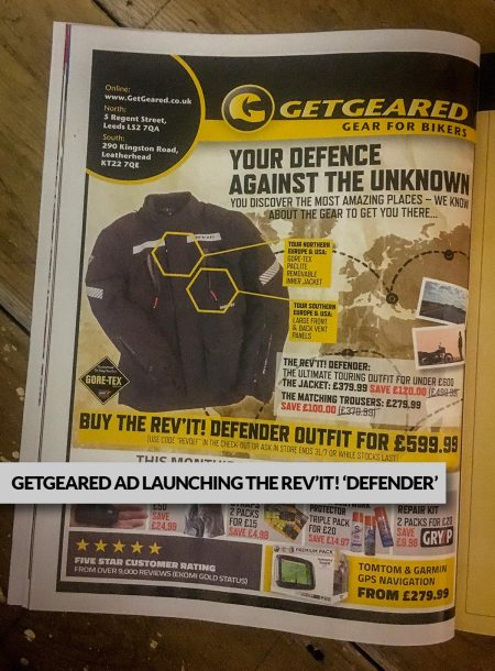 GetGeared advertising the Rev'It! Defender outfit at launch