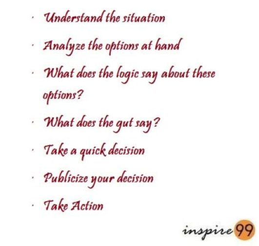 how to take decisions, inspire99 how to, steps to decision making, take quick decision, act on decisions, publicize your decision