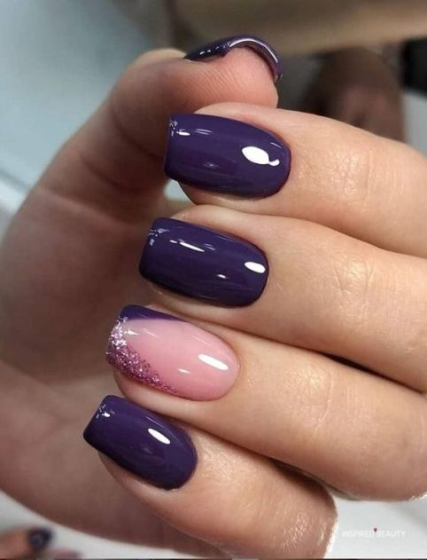 Purple nail design for wedding