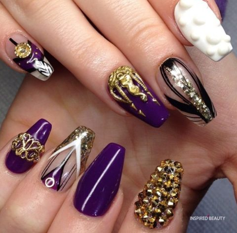 Purple and gold nails