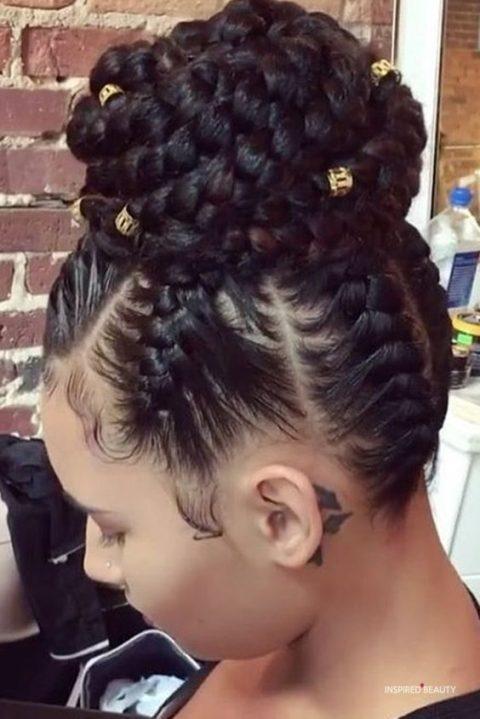 Updo jumbo box braids hairstyles for black woman