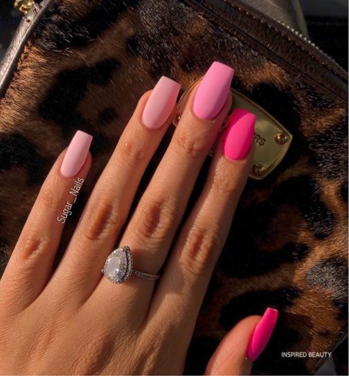 Matte Pinks on tapered Square Nails