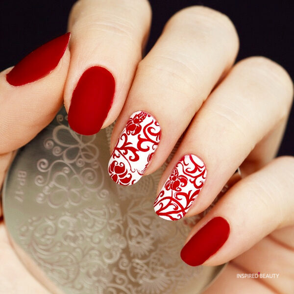 red and white nail designs