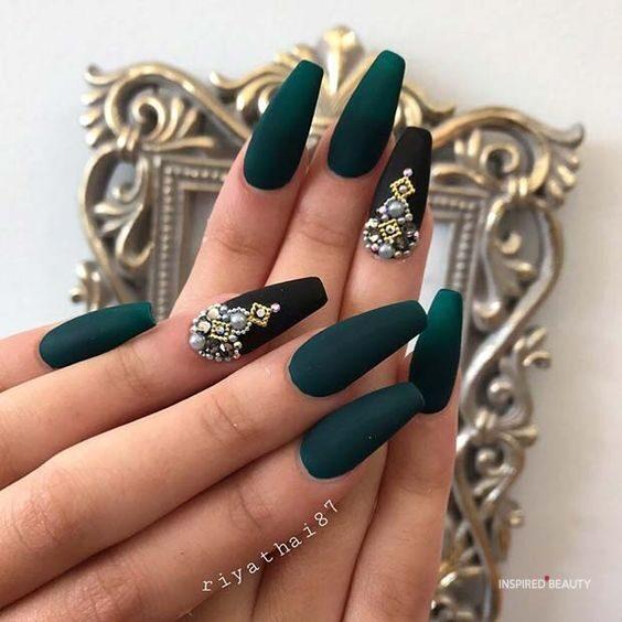 Dark Green Coffin Nails