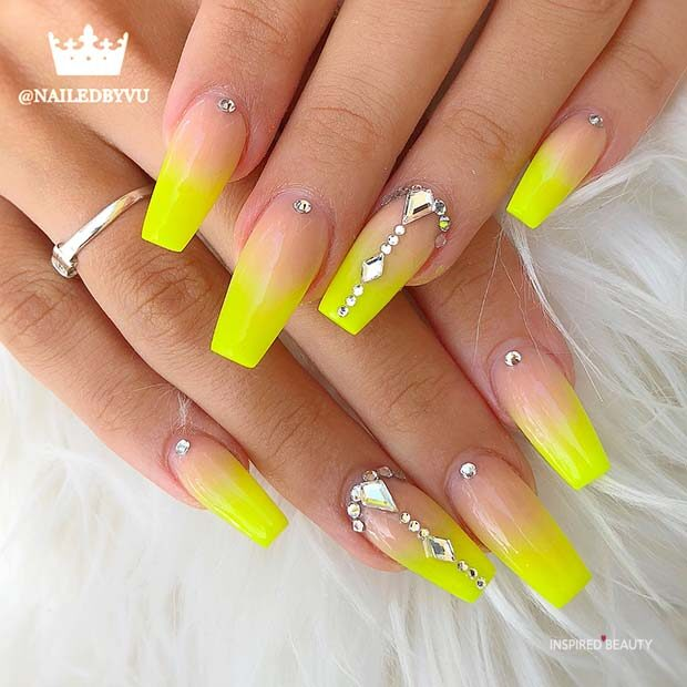 YELLOW COFFIN ACRYLIC NAILS
