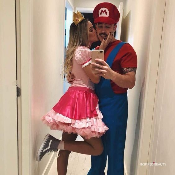 Mario and peach Halloween costume